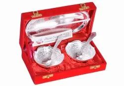 Anand Crafts Silver Plated Bowl Spoon Tray Set