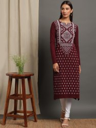 Janasya Women's Maroon Woolen Kurta(J0263)