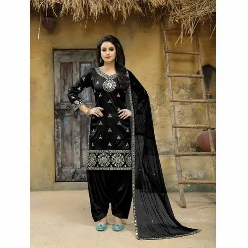 Silk Stitched Embroidered Patiala Suit, Machine wash