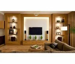 Wall Mounted Brown Wooden Tv Unit