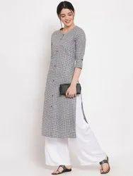 Women Printed Cotton Straight Kurta (Grey)