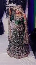 Green Net Bridal Wedding Dress, Round Neck, Size: Large