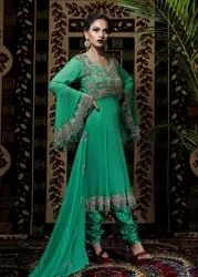 Georgette Party Wear Embroidered Ladies Suit, Size: Medium