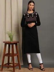 Janasya Women's Black Woolen Kurta(J0320)