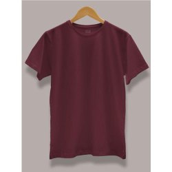 Round Burgundy Men Stylish Cotton Plain T Shirt