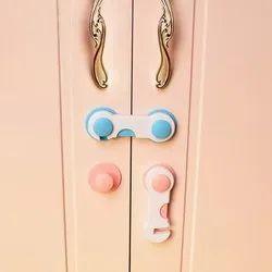 Plastic Round 4 Pcs Door Drawer Cabinet Safety Lock
