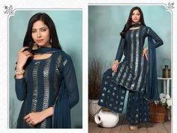 Exclusive Designer Blue Sharara Suit