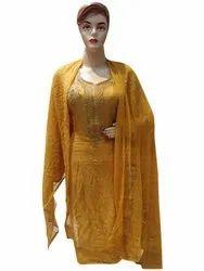Arihant Fashion A-lLine Orange Crepe Silk Designer Thread Work Salwar Suit For Women, Handwash