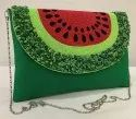 Green Canvas Sling Bag, For Party Wear