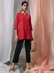 Janasya Women's Red Weaved Cotton Top(J0118)