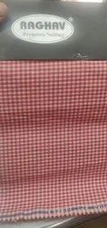 School Uniform Cotton Blend Red Checks Shirting Fabric ( Approved By U.P. Government, Machine Wash, 110