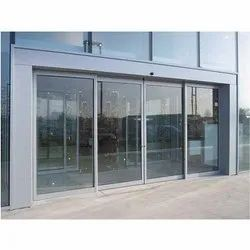 Grey Plain Automatic Sliding Glass Door, For Office, Interior