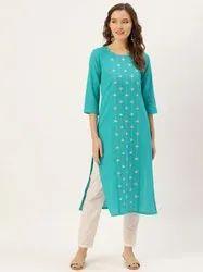Jaipur Kurti Turquoise Blue Mirror Embroidered Straight Kurta