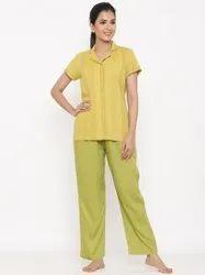 Jaipur Kurti Women Lime Green Yarn Dyed Night Suit
