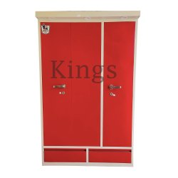 Red CRC Steel Sheet 3 Door 3 Drawer Kings Almirah, For Home, Size: 48x22x78 Inch