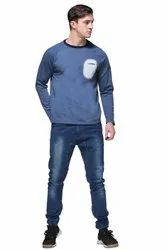 HARBORNBAY Men Blue Solid Sweatshirt
