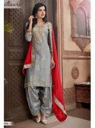 Chanderi Stitched Party Wear Patiala Suit, Machine wash