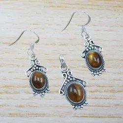 Handmade Tiger Eye Gemstone Sterling Silver Jewelry Nice Set