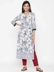Jaipur Kurti Women White Floral Print Straight Cotton Kurta