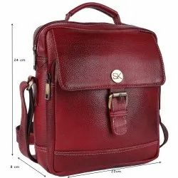 SK Red Leather Side Sling Bag, Number Of Compartments: 3, Bag Capacity: 10 Kgs