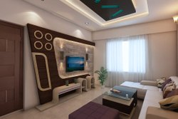 Living Room Interior Design, Work Provided: Wood Work & Furniture
