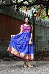 Festive Wear Blue Indo Western Dresses