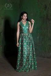 Party Wear Women Green Indo Western Dress