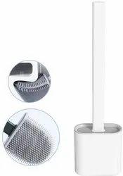 Silicone Flex Toilet Brush with Holder,No-Slip Long Handle Toilet Brush