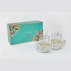 Flower Design Silver Coffee Mug Set Of 2