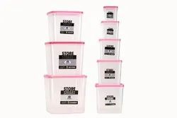 Square Airtight Plastic Food Container 8 Pcs Set