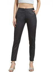 Jaipur Kurti Women Charcoal Grey Solid Cotton Lycra Pants