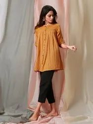 Janasya Women''''S Mustard Weaved Cotton Tunic(J0119)