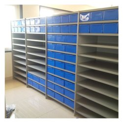 Stainless Steel Blue Slotted Angle Rack, For Office