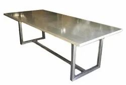 Silver Powder Coated Stainless Steel Dining Table, Size: 2x5 Feet