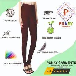 Churidar Plain Punay V-Cut Cotton Ladies Legging