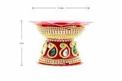 Golden Traditional Sri Rudra Decorative Steel Diyas (Pack of 2)