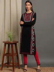 Janasya Women's Black Woolen Kurta (J0318)