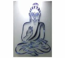 Multicolor Buddha pesting work Glass, For Office, Thickness: 5 -10 Mm