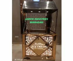 Stainless Steel Rosegold Ice-cream Display Counter