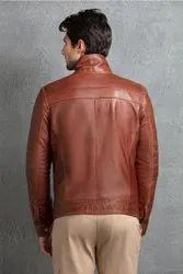 Full Sleeve Casual Wear Mens Brown Leather Jacket, Size: Large