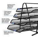 4 Tier Metal Mesh File A4 Size Files Rack With Slidable Compartments - Black
