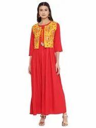 Designer Red Anarkali Suit With Jacket