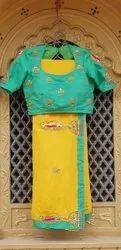 Border Yellow Ladies Designer Georgette Saree, 6 m (with blouse piece)