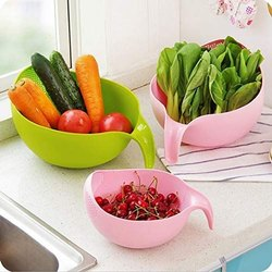 Rice Wash Bowl & Drain Basket & Rice & Fruits Washing Bowl & Noodles Pasta Washing Bowl