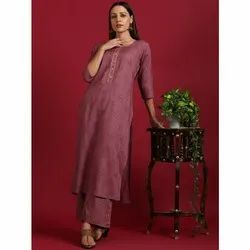 Janasya Women's Mauve Rayon Kurta With Palazzo (SET229)