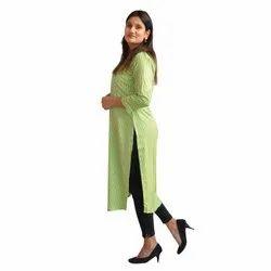 Rayon Calf Long Green Striped Straight Kurta