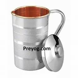 Round Preyog Steel Copper Silver Touch Water Jug, Capacity: 1.2, 1.6 & 2.1 L, Size: Custom