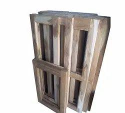 Brown Teak Wooden Window Frame, Rectangular, Size/Dimension: 4 Feet