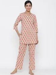 Casual Wear Jaipur Kurti Women Beige Floral Print Straight Cotton Sleepwear