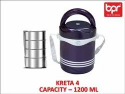Stainless Steel BPR Kreta Insulated Lunch Box, For Multipurpose, Capacity: 300 Ml Each Container